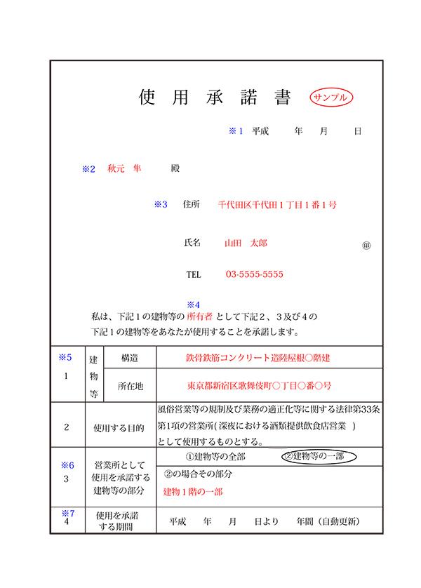 使用承諾書のイメージ
